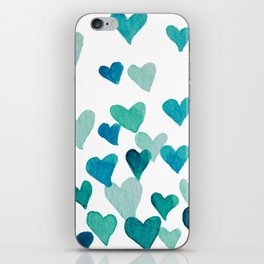 Valentine's Day Watercolor Hearts - turquoise iPhone Skin