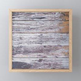 Rustic distressed western country old barn beige light grey woodgrain Framed Mini Art Print