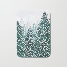 snowy pine forest in green Bath Mat