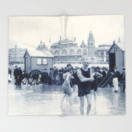 On the beach in 1900, history swimwear Throw Blanket
