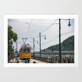 Yellow Budapest Tram Photography Art Print