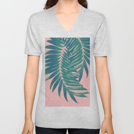 Palm Leaves Blush Summer Vibes #4 #tropical #decor #art #society6 Unisex V-Neck