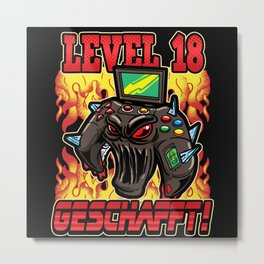 Level 18th Birthday Year Saying Gift Metal Print