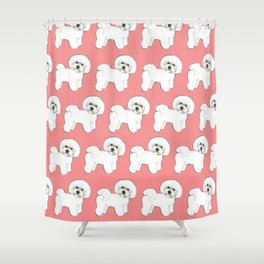 Bichon Frise on coral Shower Curtain