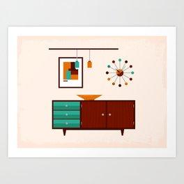 Mid-Century Modern Living - Sideboard Art Print
