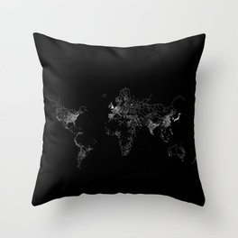 World map Lines Throw Pillow