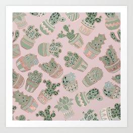 Blush pink mint green rose gold cactus floral Art Print