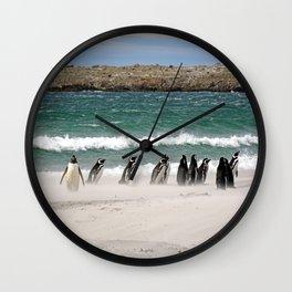 Magellanic Penguins on the Beach Wall Clock