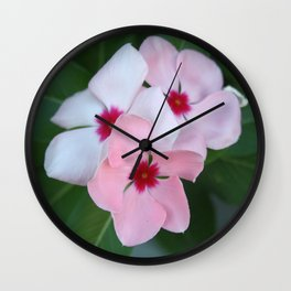 Blooming Beautiful Pink Impatiens Flowers Wall Clock