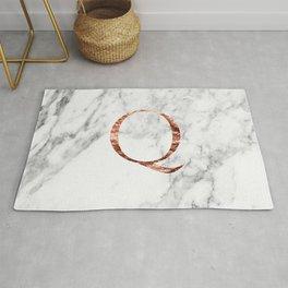 Monogram rose gold marble Q Rug