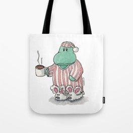I need coffee; sleepy hippo illustration Tote Bag