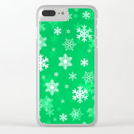 Light Green Snowflakes Clear iPhone Case