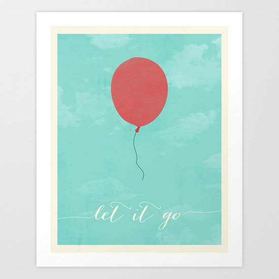 LET IT GO - RED BALLOON Art Print