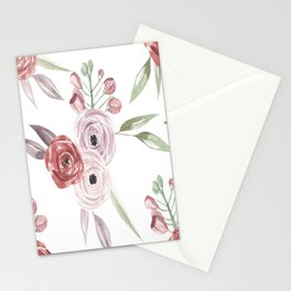 Vintage Floral Pattern Watercolor Stationery Cards