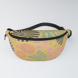Whimsical flowers - yellow, pink and grey Fanny Pack