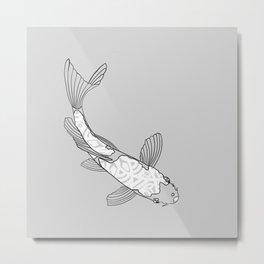 Mandala on Koi Fish (White) Metal Print