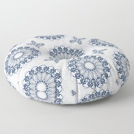 Blue ornament on a white background. Floor Pillow
