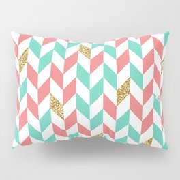 Mint Coral Gold Glitter Chevron Scatter Pattern Pillow Sham