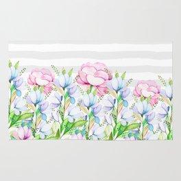 Modern watercolor pink lavender teal floral white stripes Rug