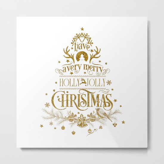 Holly Jolly Christmas- Gold Glitter Typography Metal Print