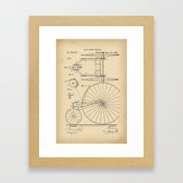 1884 Patent Velocipede Tricycle Bicycle archival history invention Framed Art Print