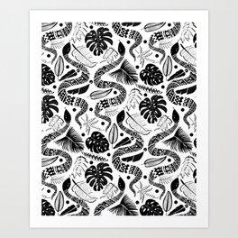 White Snakes Art Print