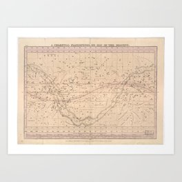 A celestial planisphere, or map of the heavens (1835) Art Print