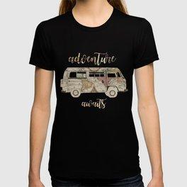 adventure awaits world map design 1 T-shirt
