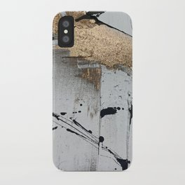 Still: an abstract mixed media piece in black, white, and gold by Alyssa Hamilton Art iPhone Case
