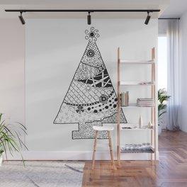 Doodle Christmas Tree Wall Mural