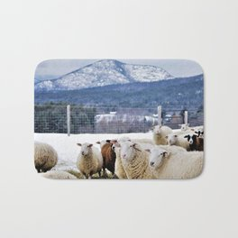 Sheep with a View of the Adirondack Mountains Bath Mat