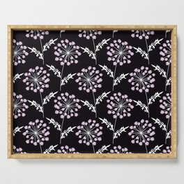 Fishnet pink flowers on a black background. Serving Tray