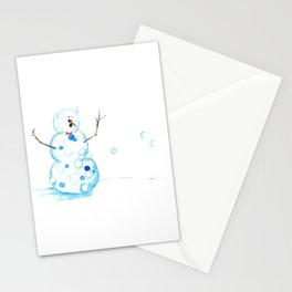Snowman in a Snowball Fight! Stationery Cards
