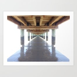 under the pier surrounded by white Art Print