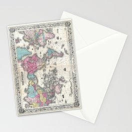 1852 J.H. Colton Map of the World Stationery Cards
