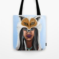american beauty Tote Bags featuring Native American Beauty by TLCreations