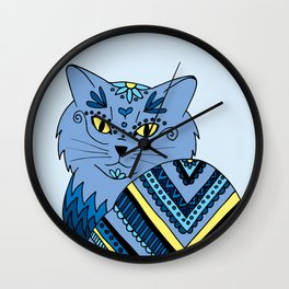 Decorated Blue Kitty Wall Clock