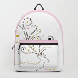 Typographic Reindeer Love - White Backpack
