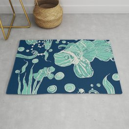 exotic fish - seabed - pirate and stories Rug