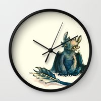toothless Wall Clocks featuring Toothless by Alice X. Zhang