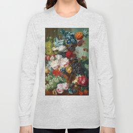 Fruit and Flowers in a Terracotta Vase by Jan van Os Long Sleeve T-shirt