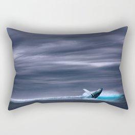 Beautiful Blue Whale Breach Rectangular Pillow