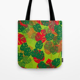 monstera green red Tote Bag