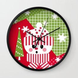 Snowman. Patchwork 1 Wall Clock