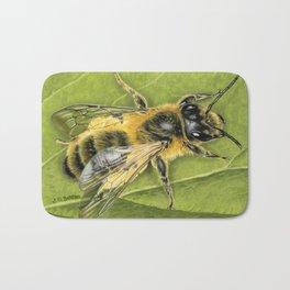 Honeybee On Leaf Bath Mat