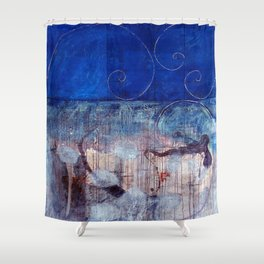 Chicxulub - Bluer version Shower Curtain