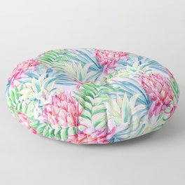 Pineapple & watercolor leaves Floor Pillow
