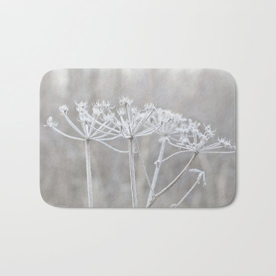 cow parsley plant  with hoarfrost in winter Bath Mat