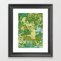 Green Town Framed Art Print