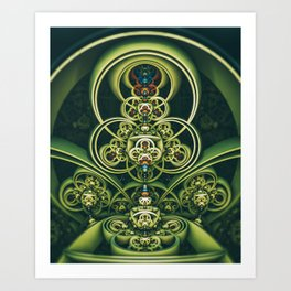 Time Shell IV. Green Abstract Geometry Art Print